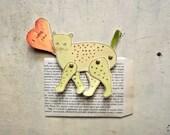 Valentine articulated paper cat in love decoration  Cat Art original illustration  -   the Frea(K)cat - ooak