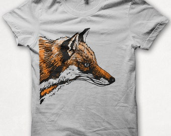 Womens Tshirt, Graphic Tee, Red Fox, Fox Shirt, Forest and Fin, Screenprint T - Silver