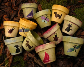 Small Painted Flower Pots - Children's Party Favors - Seed Planting Party - Kids Party Favors