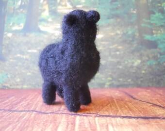 Needle Felted Small Black Primitive Sheep