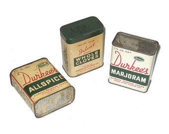 Spice Tins, Vintage Spice Tins, Durkee's Tins, Ideal Cloves Tin, Vintage Tin, Vintage Tin, Tin Container, Spices NewYorkMarketplace on Etsy
