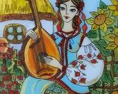 Original Glass Painting, Banduristka,  Ukrainian Folk Art Style