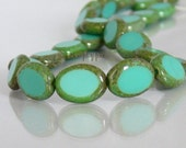 Turquoise Picasso Table-Cut Oval Czech Glass Beads 12mm - 12