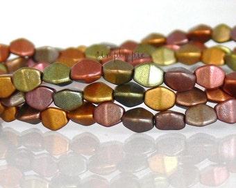 Matte Metallic Silky Bronze Iris Czech Beads 5x3mm Pinched 50 Glass Beads Per Strand