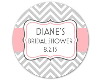 Custom Bridal Shower Favor Stickers - Personalized Modern Labels - Shower Stickers - Chevrons - Choose Your Colors