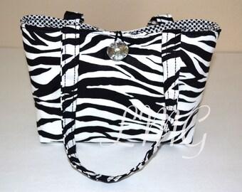 Zebra print bag - Zebra Handbag - Zebra Diaper bag - School bag - Zebra purse - Zebra print - Zebra bag - Small tote