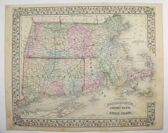 Massachusetts Map Rhode Island Connecticut Map 1871 Mitchell Map, Wedding Gift for Couple Antique Map Massachusetts Gift for Coworker MA Map
