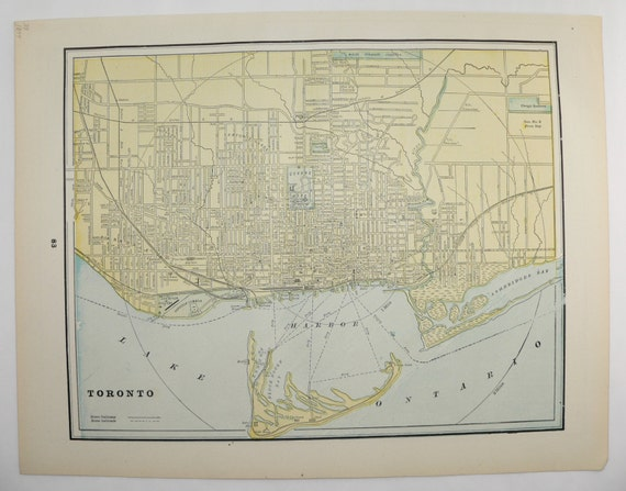 Vintage Map Toronto Canada Montreal Map 1894 City Street Map