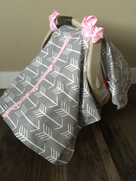 Car Seat Canopy Grey And Pink Arrow Car Seat Cover Car