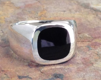 Mens Heavy Sterling Silver Antique Cushion Shape  Black Onyx Ring