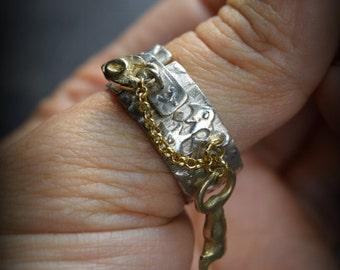 Garden Gate Charm Ring hinged padlock band