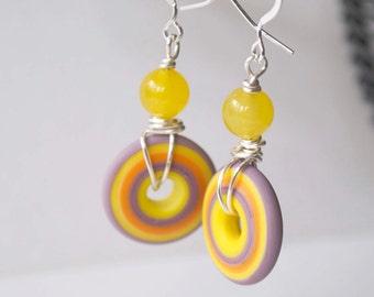 Yellow Earrings, Lampwork Earrings, Disc Earrings, Glass Bead Earrings, Spring Earrings