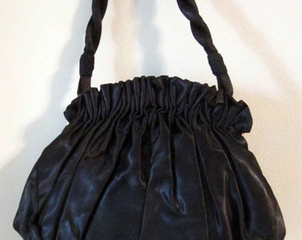 Black Satin Formal Purse with Braided Handle