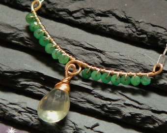 Emerald, Prehnite, Gold Filled, Sterling Necklace 18 inch, Oxidized, Wire Wrapped, Hand Formed, Forged