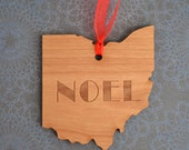 NOEL Engraved Ohio Ornament