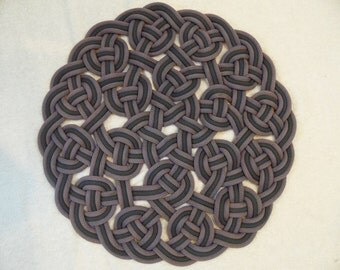 Handwoven Rug Made from Recycled Climbing Rope - 27 inch diameter. CHOOSE YOUR COLOR.