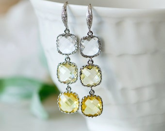 Yellow dangle earrings, yellow drop earrings, yellow and grey wedding, Bridesmaids earrings, Bridal earrings