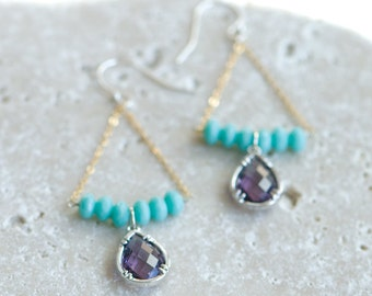 Purple and turquoise wedding, Mint earrings, Purple bridesmaids earrings, mixed metal jewelry, gold and silver
