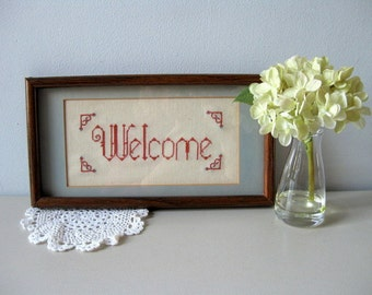 Vintage cross stitch welcome sign Handmade welcome picture Shabby wall decor