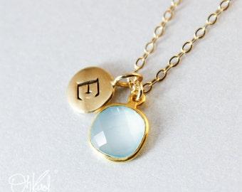 Aqua Chalcedony Necklace - Dreamy Chalcedony - 14K GF, Initial Charm