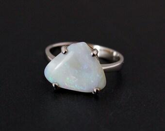 50% OFF SALE - White Australian Opal Ring - Sterling Silver - Freeform Cut