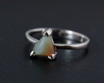 50% OFF SALE - Triangular Opal Ring - Earthy Tones - Sterling Silver