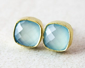 Gold Sea Green Chalcedony Stud Earrings - Square Studs - Post Earrings, Mint Green