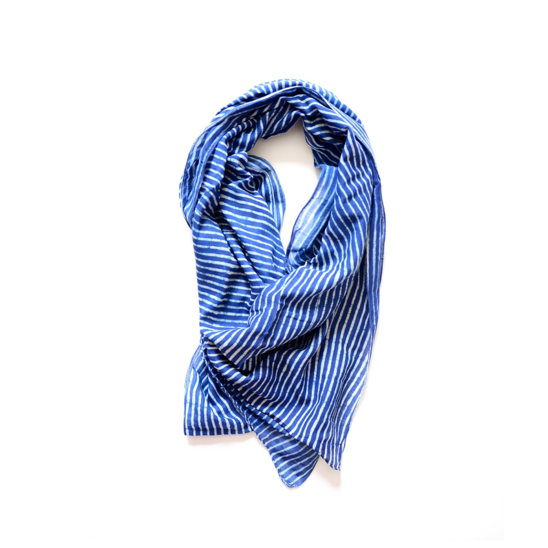 scarf indigo stripe blue and white fall navy block print