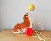 Vintage Fisher Price Susie Seal Wood Pull Toy Cute Animal With Ball.