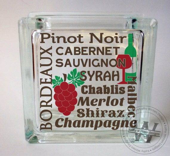 Vinyl lettering glass block decal wine by kwintersdesigns for Where to buy vinyl letters for wine glasses