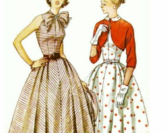 Vintage 1950s Dress Pattern Peter Pan or Tie Collar Full Side Pleated Skirt and Bolero 1952 Simplicity 3858 Bust 33