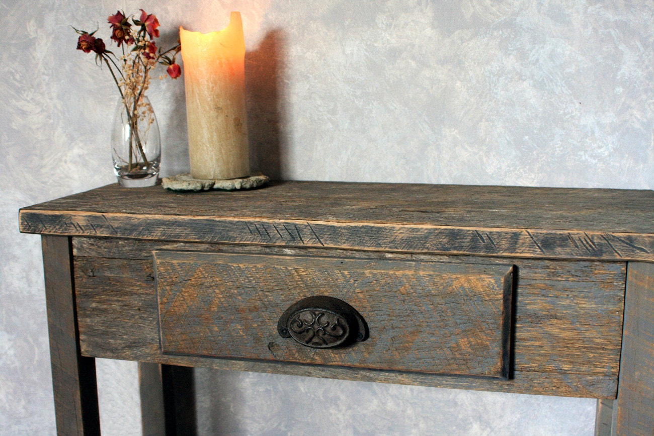 Small Entry Table Gray Reclaimed Wood By Natureinspiredcrafts