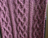 Wool Big Chunky Cable Knit Blanket - Plum