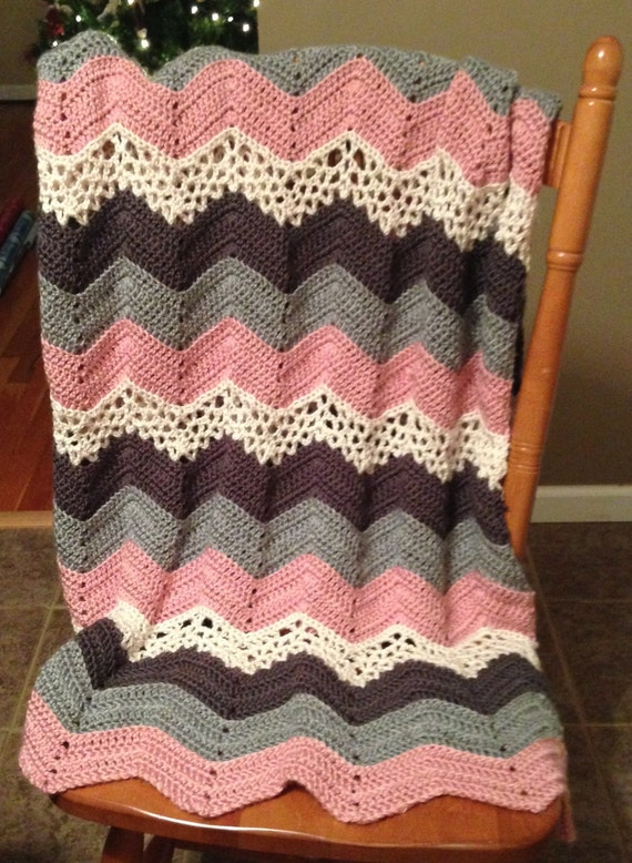 Double Crochet Ripple Baby Afghan Pattern : crochet PATTERN for Lacy Ripple afghan Blanket or by ...
