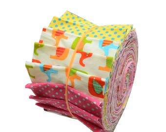 """Quilt Jelly Roll Colorful Scandinavian Polka Dot Elephant Fabric Roll 2.5"""" 24 Strips"""