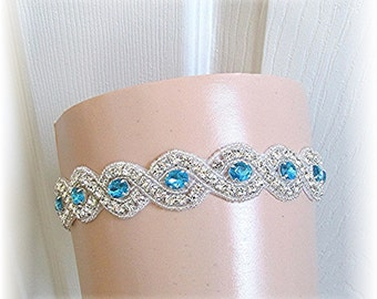 SALE Wedding Garter Bridal Garter Crystal and Something Blue Turquoise Crystals Free Ship USA