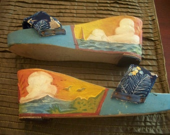 Tropical Themed Wood Carved Shoes - circa - 1960's - Fabric Top/ Blue/Sailboat