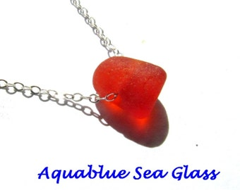 SALE  Rare BRIGHT Orange GENUINE Floating Sea Glass Sterling Silver Sea Glass  Pendant Seaglass From Puerto Rico  Was 49.99