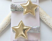 Gold Star Hair Clips, Gold And Silver Star Hair Clips, Girls Hair Clips, Star Hair Clips, Piggy Tail Clips, Girls Hair Accessory, Nautical