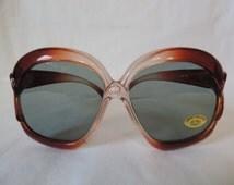 vintage oversized sunglasses, 70's boho sunglasses, big sunglasses, brown sunglasses, new old stock