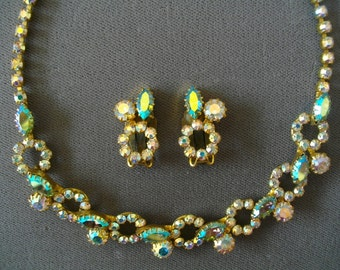 Vintage Jewelry Set  Austria Crystal Necklace Earrings Demi Parrure Accessories
