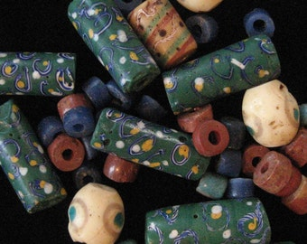 LOT: African Trade Beads, Venetian Eye Millefiori Tube Bead, Green, White, Yellow
