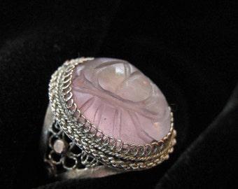 Chinese Filigree Purple Jadeite or Amethyst Ring, LOTUS Flower, Adjustable
