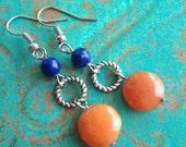 Chomp - Orange Quartzite and Blue Lapis Dangle Earrings