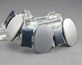 Mod Lucite Mid Century Bracelet Vintage 1960s Silver and Black Lucite