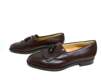Men's Hickey Freeman Shoes Brown Burgundy Leather Tassel Slipon Loafer Italy Size 9.5