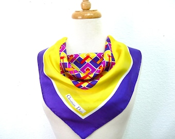 SALE Authentic Christian Dior Silk Scarf Vintage Signature Hand Rolled Geometric