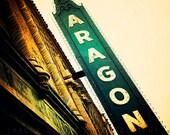 The Aragon Ballroom, Chicago Photography, emerald green wall art, Uptown, retro neon sign, vintage inspired,  home decor, Chicago art print,