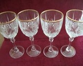 "Cristal D'Argues France  FOUR wine glasses /water goblets 7.75"" tall  FONTENAY pattern"