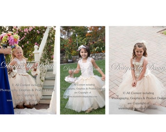 Ivory, Beige, Champagne Lace flower girl dress with train! More colors available. Size 6m-10 Girls